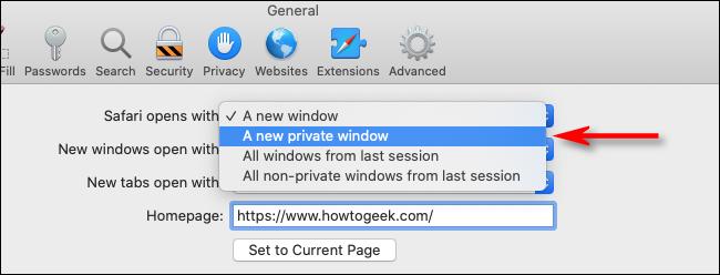 Wählen Sie in Safari für Mac im Dropdown-Menü Ein neues privates Fenster aus