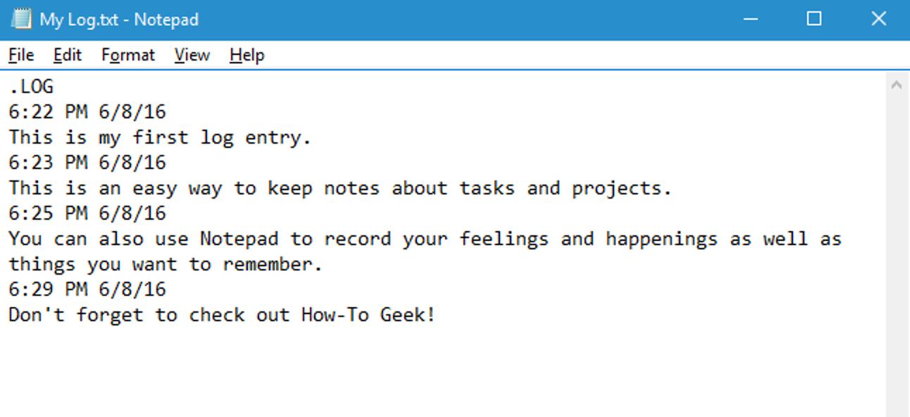 So erstellen Sie mit Notepad ein datiertes Protokoll oder eine Journaldatei