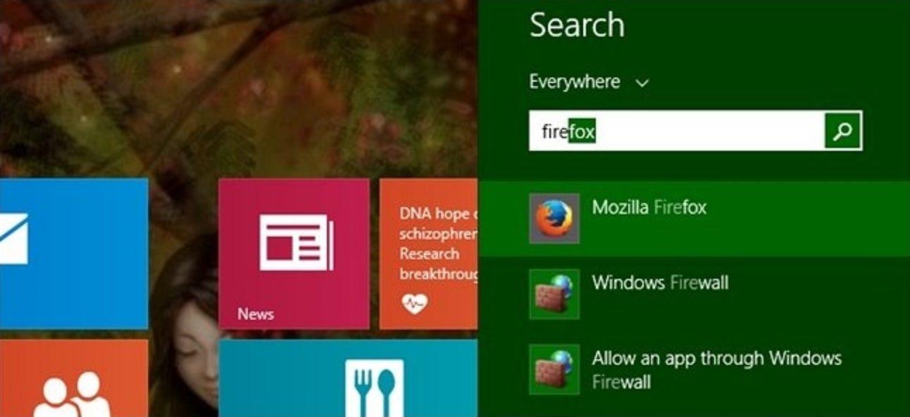 Warum stimmt die Anwendungssuche in Windows 8 nicht mehr mit Teilzeichenfolgen überein?