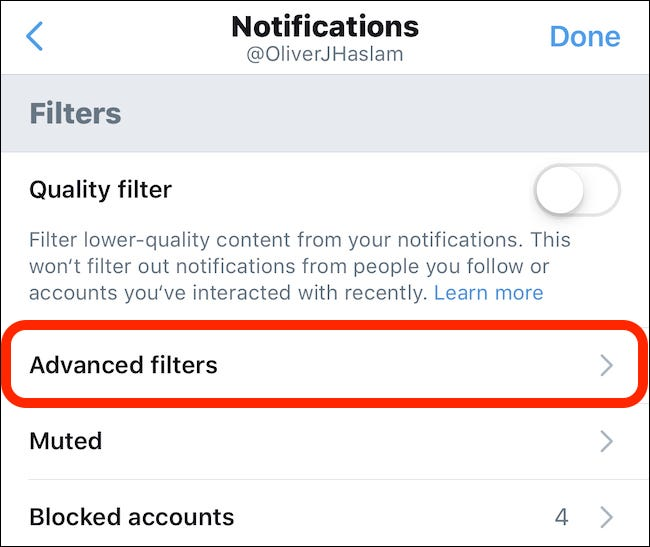 Tippen Sie auf Erweiterte Filter