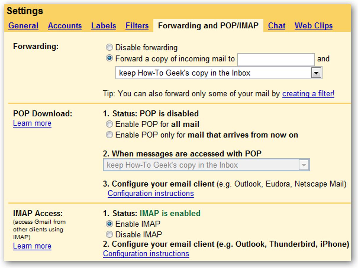 Einrichten der Google Mail IMAP-Unterstützung in Thunderbird (1.5 oder 2.x)