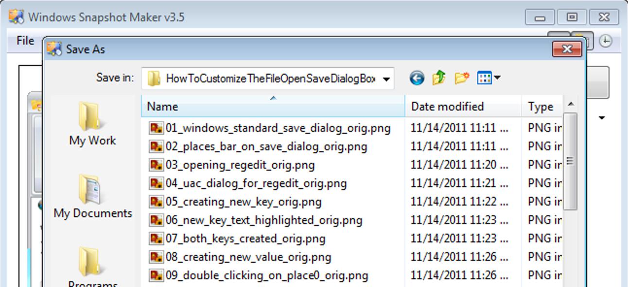 So passen Sie das Dialogfeld zum Öffnen / Speichern von Dateien in Windows an
