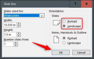 """Aktivieren Sie das Optionsfeld neben Hochformat oder Querformat und klicken Sie dann auf """"OK."""""""
