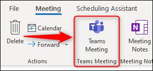 """Das """"Teamtreffen"""" Option in einer neuen Besprechungsanfrage."""