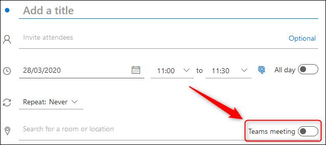 """Das """"Teamtreffen"""" Kippschalter in einer Outlook Online-Besprechungsanforderung."""