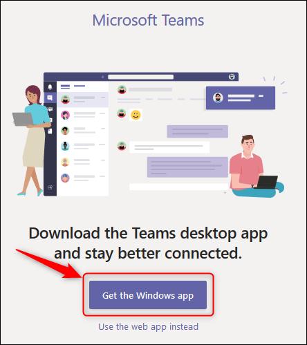 """Das """"Holen Sie sich die Windows-App"""" Schaltfläche in Teams online."""