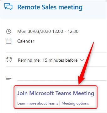 Ein Ereignis im Outlook Online-Kalender mit dem Link