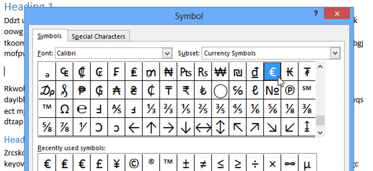 So verwenden Sie Symbole in Word 2013
