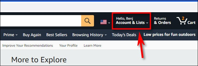 Klicken Sie in der Amazon.com-Symbolleiste auf Ihren Kontonamen.