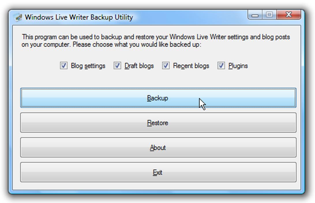 Sichern Sie Ihre Windows Live Writer-Einstellungen