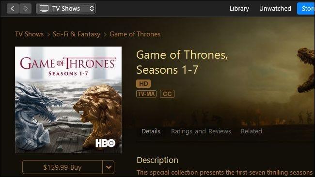 Game of Thrones zum Verkauf bei Apple iTunes