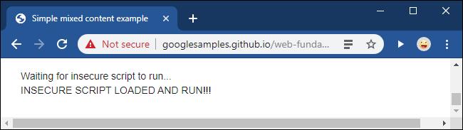 Eine nicht sichere Nachricht nach dem Entsperren eines Mixed Content-Skripts in Google Chrome.