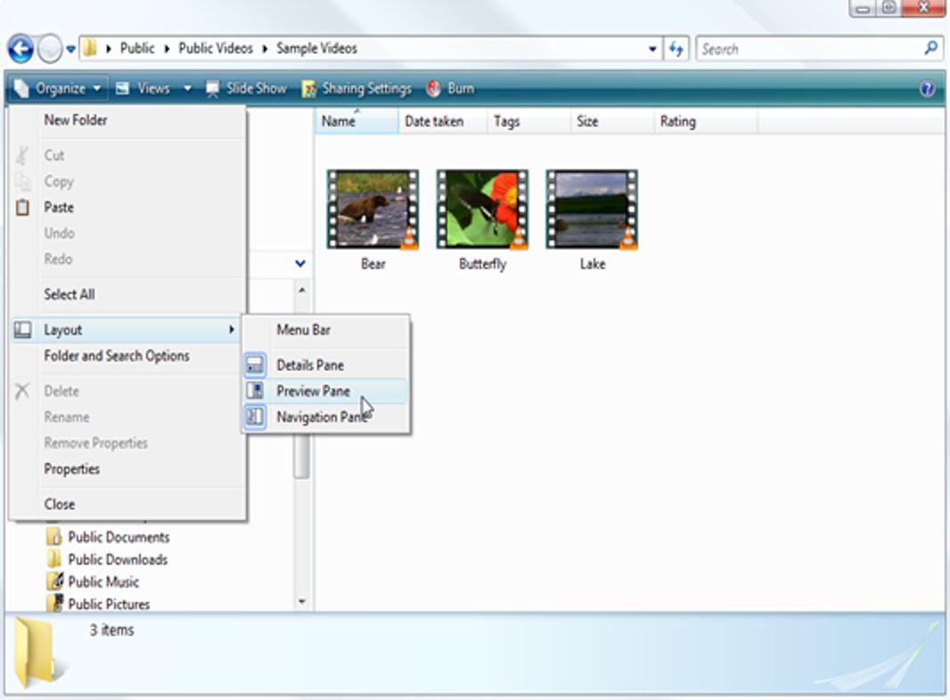 Vorschau von Mediendateien ohne Öffnen einer separaten Anwendung in Vista
