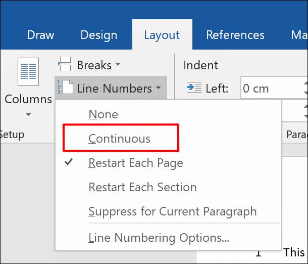"""Um Zeilennummern vollständig zu einem Word-Dokument hinzuzufügen, klicken Sie auf Layout > Zeilennummern > Fortlaufend """" width=""""610″ height=""""522″ onload=""""pagespeed.lazyLoadImages.loadIfVisibleAndMaybeBeacon(this);"""" onerror=""""this.onerror=null;pagespeed.lazyLoadImages.loadIfVisibleAndMaybeBeacon(this);""""/></p> <p>Um die Zeilennummern auf jeder neuen Seite neu zu starten, wählen Sie stattdessen """"Jede Seite neu starten"""".</p> <p><img class="""