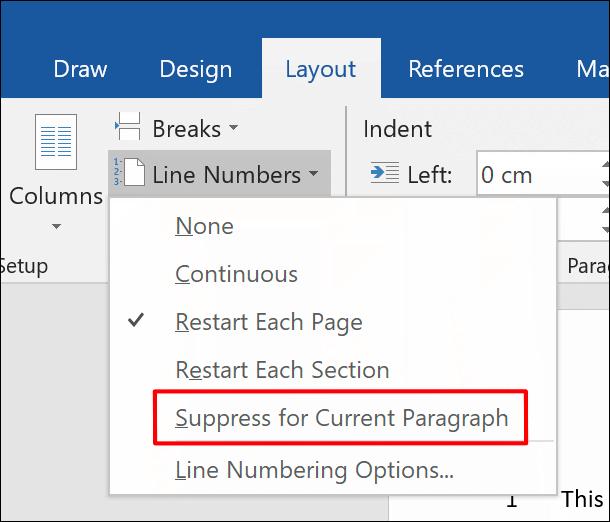 """Um Zeilennummern aus einem Absatz zu entfernen, klicken Sie auf Layout > Zeilennummern > Für aktuellen Absatz unterdrücken"""" width=""""610″ height=""""522″ onload=""""pagespeed.lazyLoadImages.loadIfVisibleAndMaybeBeacon(this);"""" onerror=""""this.onerror=null;pagespeed.lazyLoadImages.loadIfVisibleAndMaybeBeacon(this);""""/></h2> <p>Dadurch wird der Absatz vollständig aus der Zeilennummernfolge entfernt.  Die Sequenz beginnt mit der folgenden Nummer in der nächsten Zeile direkt unter dem Absatz.</p> <p><img class="""