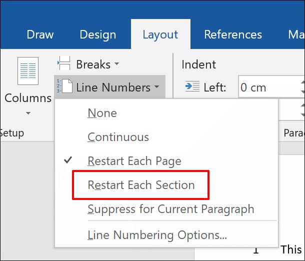 """Um Zeilennummern zu einem Word-Dokument hinzuzufügen, getrennt nach Abschnitten, klicken Sie auf Layout > Zeilennummern > Jeden Abschnitt neu starten"""" width=""""610″ height=""""522″ onload=""""pagespeed.lazyLoadImages.loadIfVisibleAndMaybeBeacon(this);"""" onerror=""""this.onerror=null;pagespeed.lazyLoadImages.loadIfVisibleAndMaybeBeacon(this);""""/></p> <p>Wenn Sie einen neuen Abschnittsumbruch hinzufügen möchten, klicken Sie auf die Schaltfläche """"Umbrüche"""".  Dies befindet sich direkt über der Schaltfläche """"Zeilennummern"""" auf der Registerkarte """"Layout"""".</p> <p>Klicken Sie dort auf """"Fortlaufend"""", um einen neuen Abschnittswechsel hinzuzufügen, ohne den Word-Cursor auf eine neue Seite zu verschieben.</p> <p><img class="""
