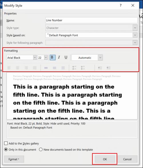 Bearbeiten Sie die Formatierungsoptionen für den Zeilennummernstil und klicken Sie dann zum Speichern auf OK.