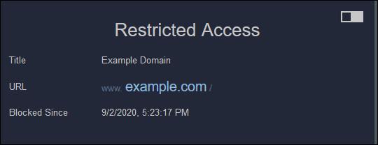 """Das """"Eingeschränkter Zugang"""" Nachricht im Firefox."""