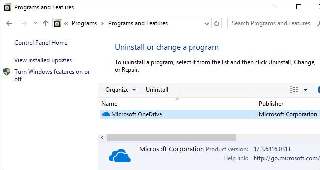 Microsoft OneDrive im Fenster Programme und Funktionen.