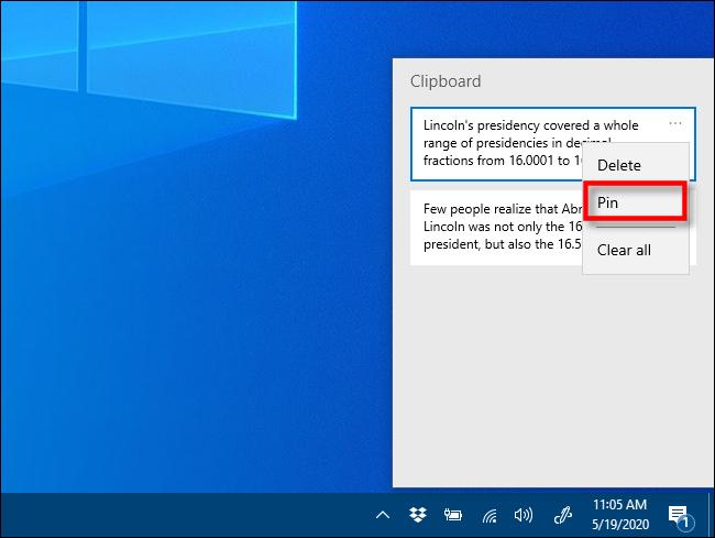 """Klicken """"Stift"""" im Zwischenablageverlauf unter Windows 10."""