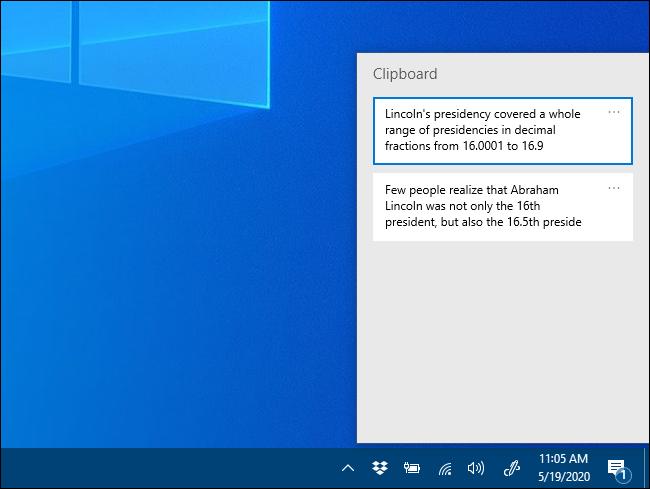 Das Popup-Fenster Zwischenablageverlauf unter Windows 10.