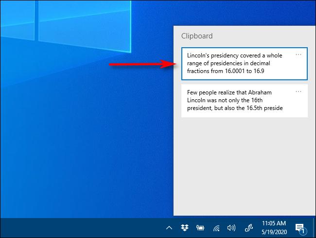 Klicken Sie unter Windows 10 auf das Element, das Sie in die Zwischenablageverlaufsliste einfügen möchten.