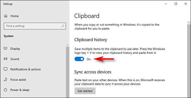 """Umschalten """"Zwischenablageverlauf"""" unter Windows10."""