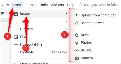 """Klicken """"Einfügen,"""" klicken """"Bild,"""" und wählen Sie dann den Speicherort Ihres Bildes."""