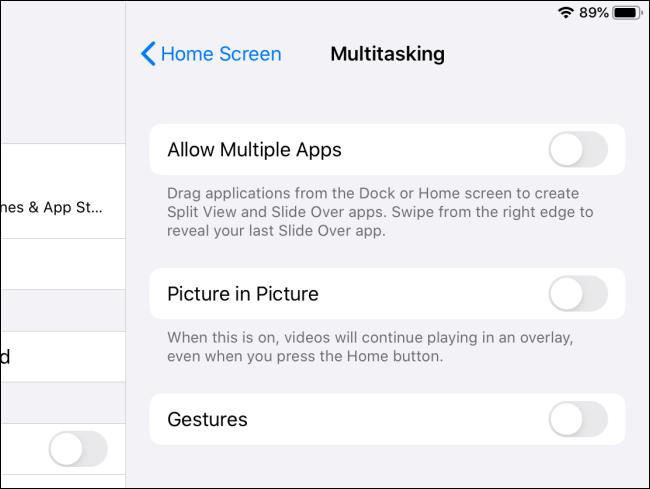 iPadOS Multitasking-Funktionen deaktiviert