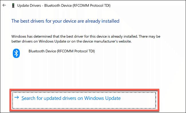 """Klicken """"Suchen Sie in Windows Update nach aktualisierten Treibern."""""""