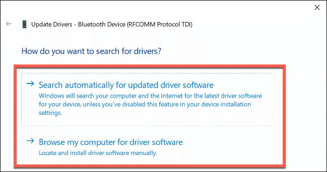 """Das """"Wie möchten Sie nach Treibern suchen?"""" Optionen unter Windows 10."""