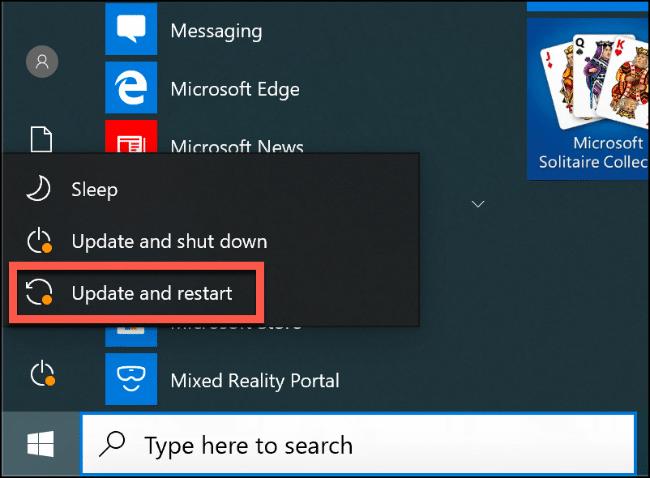 """Das """"Updaten und neustarten"""" Option im Startmenü von Windows 10."""