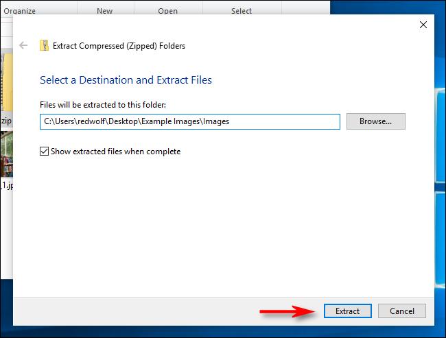 """Klicken """"Extrakt"""" unter Windows10."""