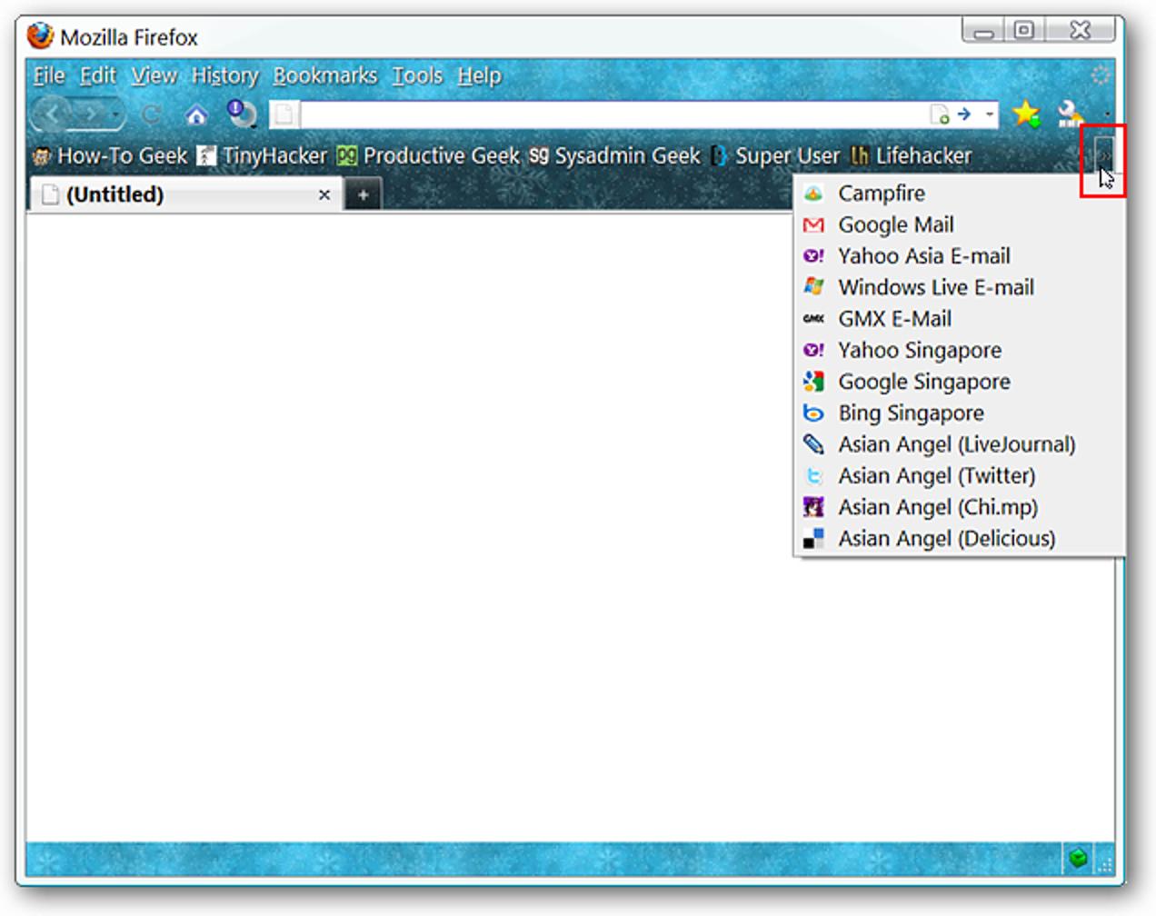 Verdichten Sie die Lesezeichen in der Firefox-Lesezeichen-Symbolleiste
