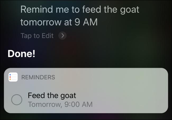 """Siri bestätigt eine Erinnerung an """"Füttere die Ziege morgen um 9 Uhr."""""""