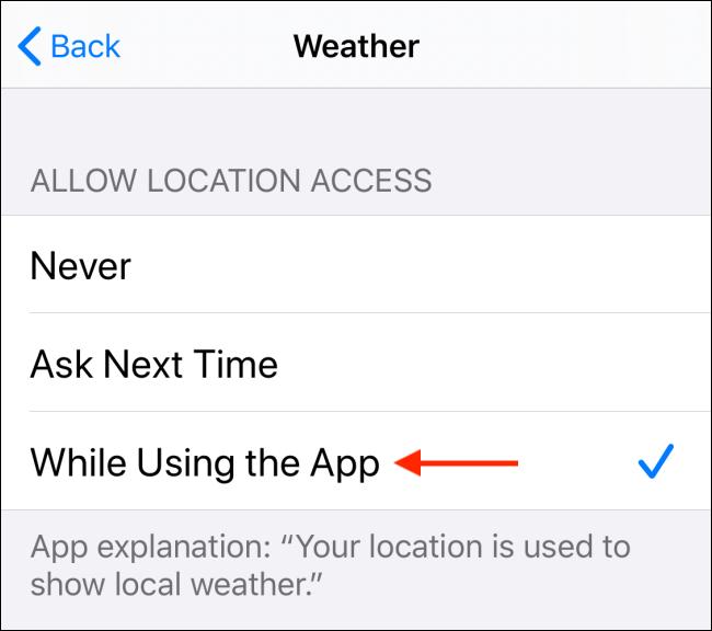 Wählen Sie Zulassen bei Verwendung der App-Option