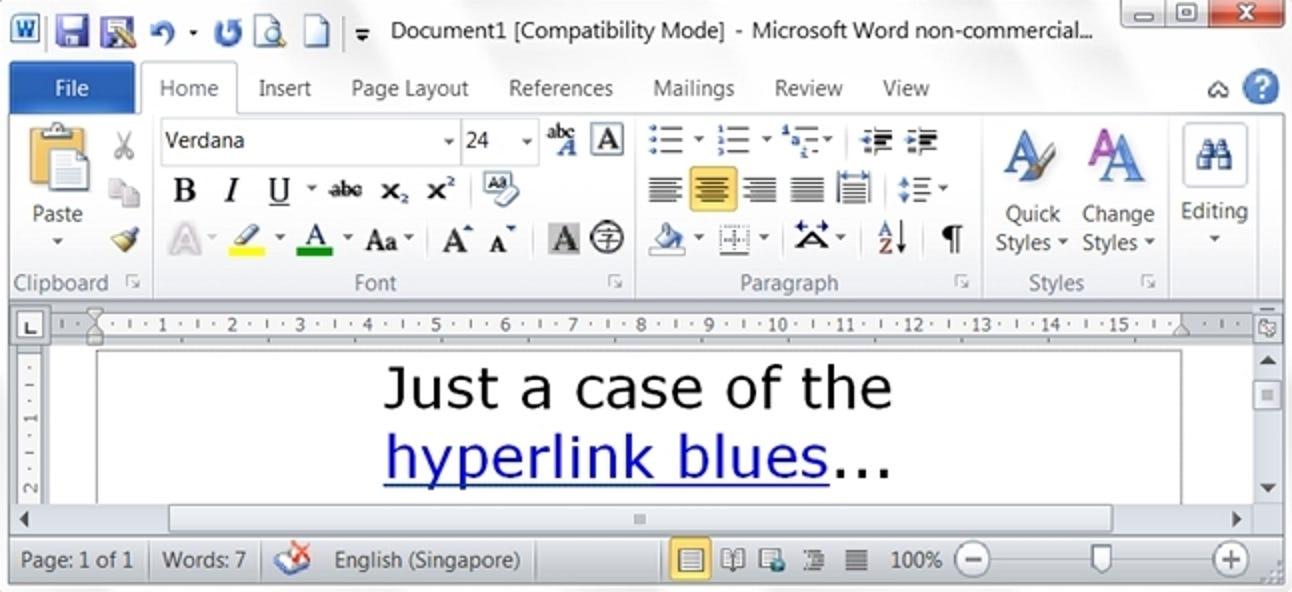 Wie setzen Sie alle Hyperlinks in einem Microsoft Word-Dokument auf ihren blauen Standardstil zurück?