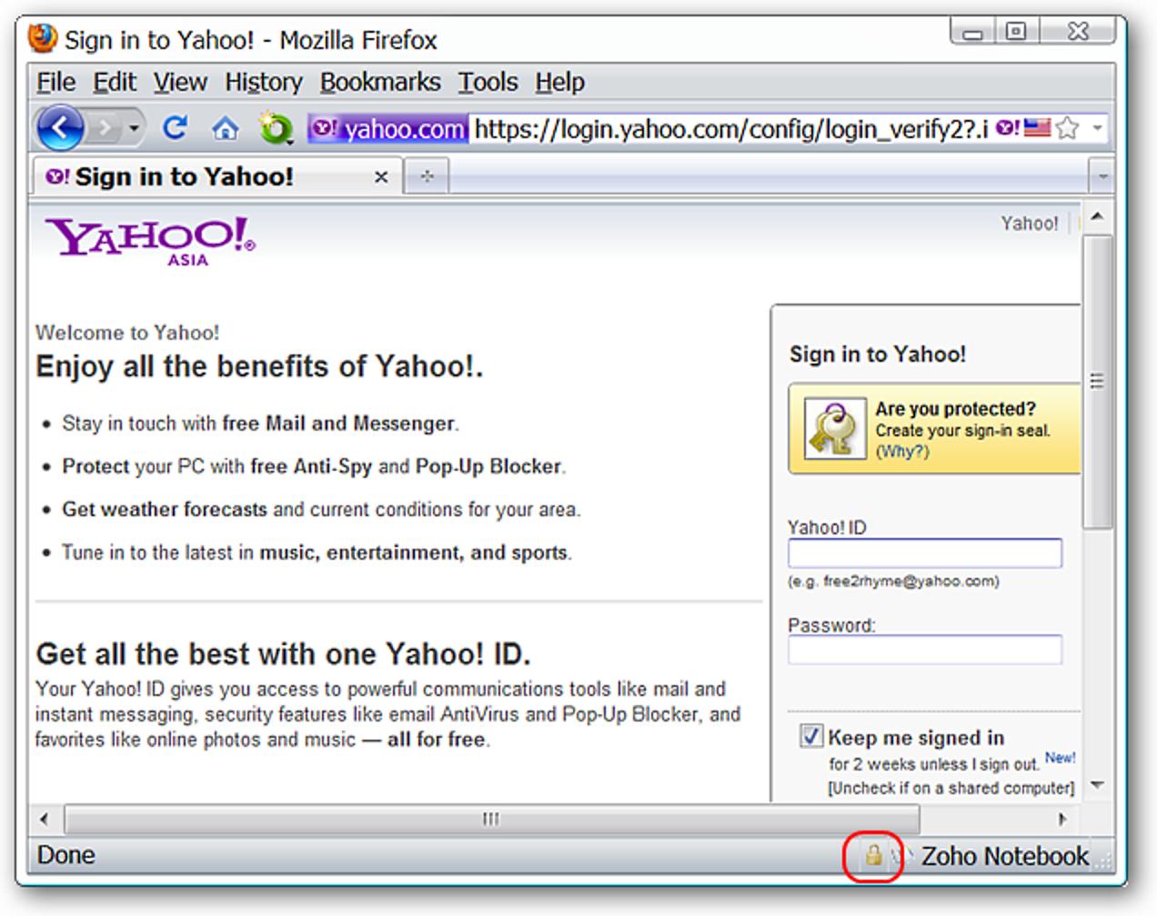 Anzeigen der Sicherheitsstufe einer Website in der Adressleiste von Firefox