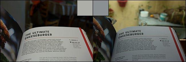 Zwei Bilder derselben Seite aus einem Buch vor und nach der Korrektur des Weißabgleichs.
