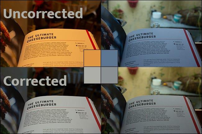 Vier Aufnahmen derselben Seite in einem Buch mit unterschiedlichen Weißabgleichsstufen.