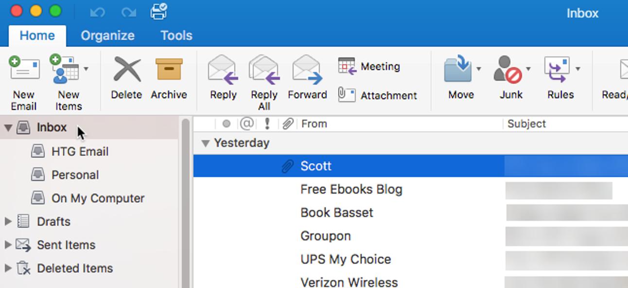 So deaktivieren Sie den einheitlichen Posteingang (und gruppierte Ordner) in Outlook 2016 für Mac
