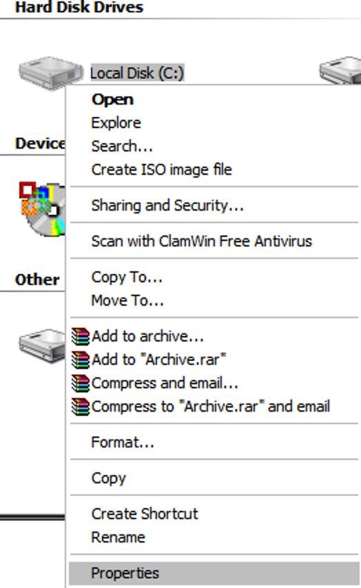 Machen Sie die Datenträgerbereinigung, komprimieren Sie ältere (oder neuere) Dateien auf XP