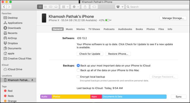 iPhone-Verwaltungsbildschirm Finder