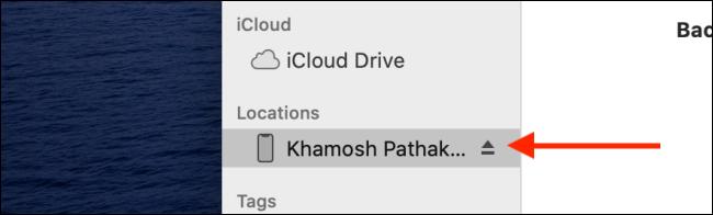 Klicken Sie auf die Schaltfläche Auswerfen neben dem Namen des iOS-Geräts