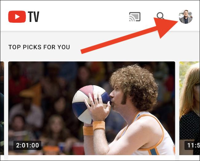 Klicke oben rechts in der App auf deinen YouTube TV-Avatar