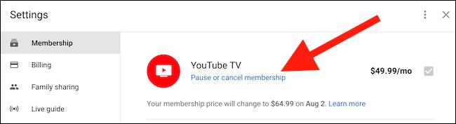 """Drücke den """"Mitgliedschaft pausieren oder kündigen"""" Link unter der Option YouTube TV gefunden"""