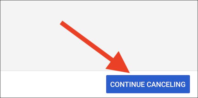 """YouTube TV bietet an, deine Mitgliedschaft zu pausieren.  Wähle aus """"Weiter stornieren"""" Taste um fortzufahren"""