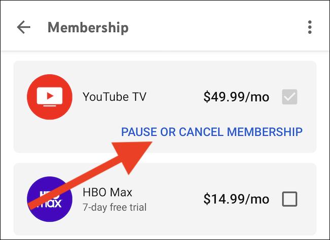 """Wähle aus """"Mitgliedschaft pausieren oder kündigen"""" Link unter dem YouTube TV-Eintrag"""