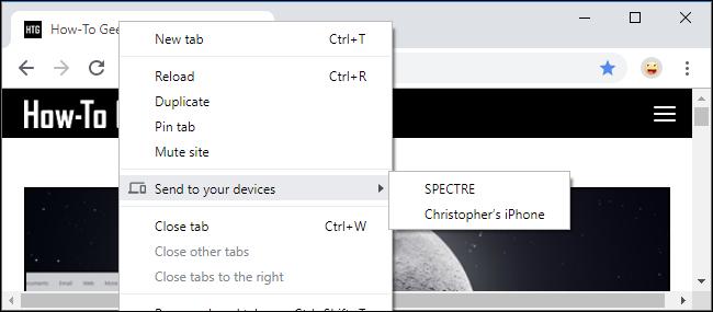 Tab in Chrome an Ihre Geräte senden