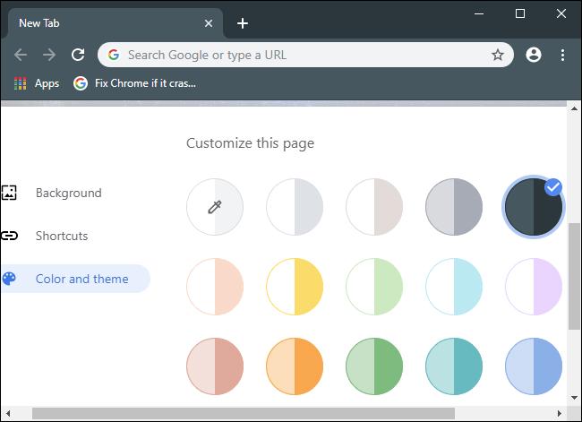 Auswählen einer Farbe und eines Designs für den Chrome-Browser.